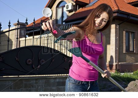 Nice woman engaged in gardening