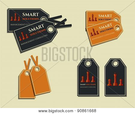 Set of business labels - stickers for management consulting, finance, law company. With smart soluti