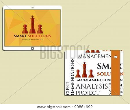 Flat Mobile device and tablet. Chess Smart solutions design template with management Consulting keyw