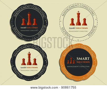 Business logo templates and badges. Chess Smart solutions design with company logo. Best for managem