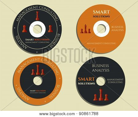 Business CD, DVD templates. sign, icon. Compact, disc, symbol. Chess Smart solutions design with com