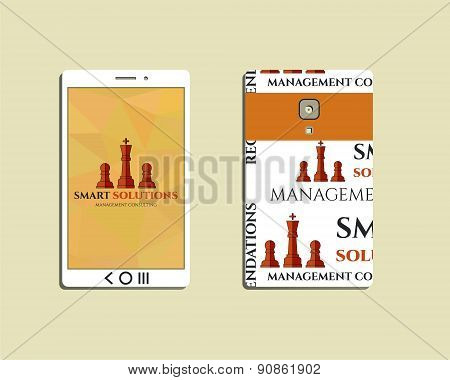 Flat Mobile device and smart phone. Chess Smart solutions design template with management Consulting