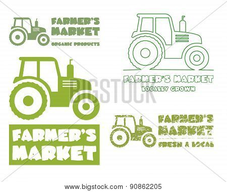 Set of Tractor logo design template. harvest or farm icon. Thin line, silhouette design. Organic far