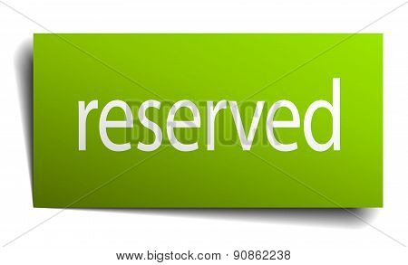 Reserved Square Paper Sign Isolated On White