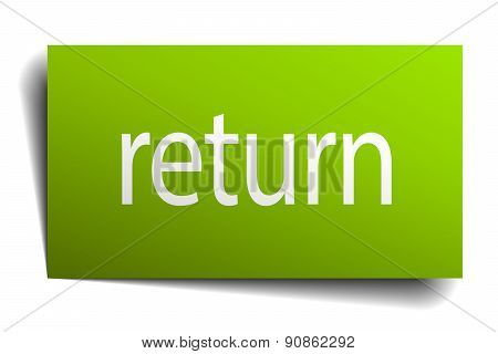 Return Square Paper Sign Isolated On White