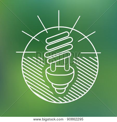 energy saving spiral eco lamp fluorescent light bulb linear icon environmentally friendly planet Eco