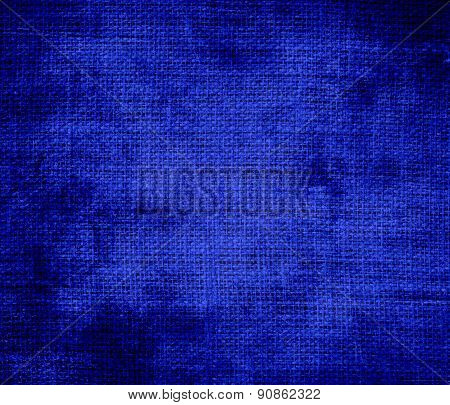Grunge background of blue (pantone) burlap texture