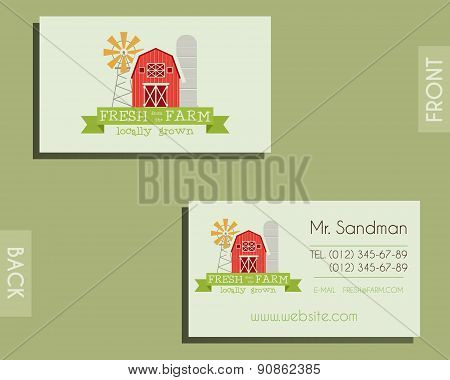 Eco, organic visiting card template. For natural shop, farm products and other bio, organic business