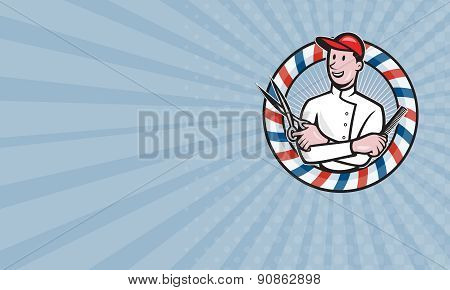 Business Card Barber With Scissors And Comb Cartoon