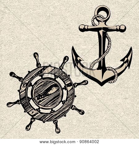 Anchor Wheel Illustration Vector Art