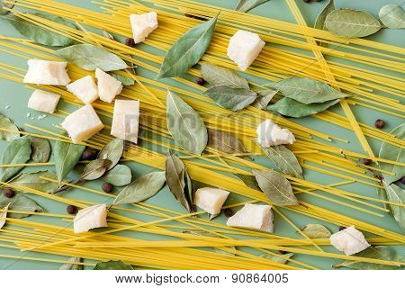Uncooked ingredients for pasta