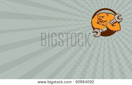Business Card Grizzly Bear Mechanic Spanner Circle Cartoon