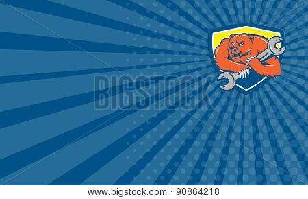 Business Card Grizzly Bear Mechanic Spanner Shield Cartoon