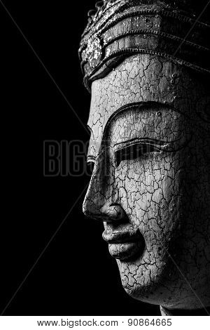 Black And White Of Buddha Portrait On Black Background