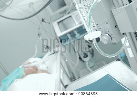 Patient Receiving Mechanical Ventilation In A Hospital Ward