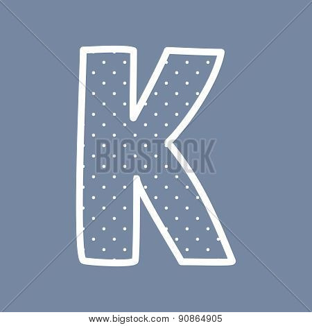 K vector letter with white polka dots on blue background