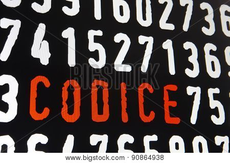 Computer Screen With Codice Text On Black Background