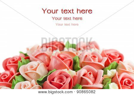 Congrats Rose Flower Cream Cake Traditional And Blessing Occation Isolated On White Background.