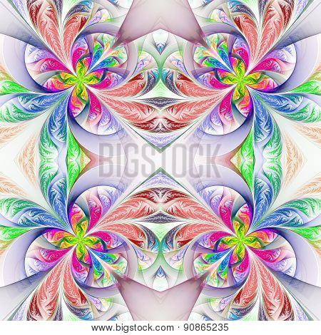 Symmetric Multicolored Fractal Tracery. Collection - Frosty Pattern.