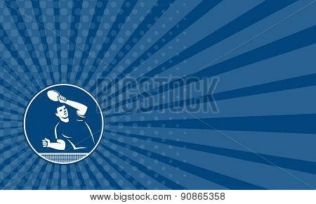 Business Card Table Tennis Player Serving Circle Icon