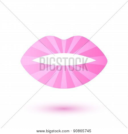 Pink glow lady's lips icon. Beauty symbol logo design.