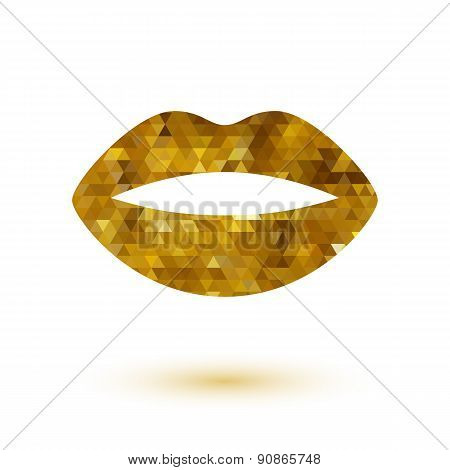 Golden mosaic lady's lips icon. Beauty symbol logo design.
