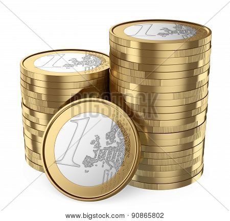 3D Pile Of Euro Coins