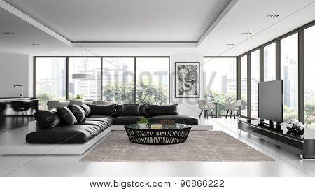 Interior of the modern design  loft with black sofa  3D rendering