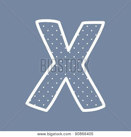 X vector letter with white polka dots on blue background