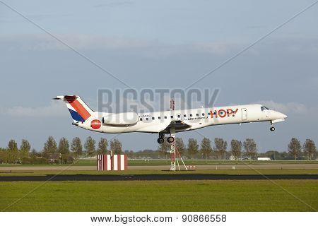 Amsterdam Airport Schiphol - Embraer 145 Of Hop! Lands