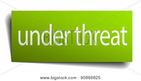 Under Threat Square Paper Sign Isolated On White