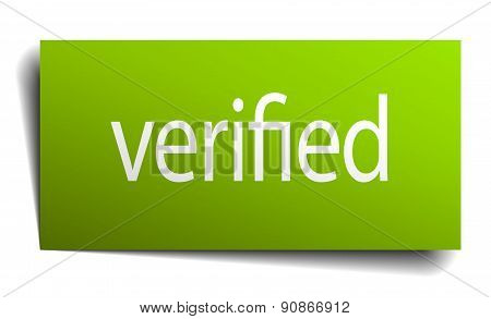 Verified Square Paper Sign Isolated On White