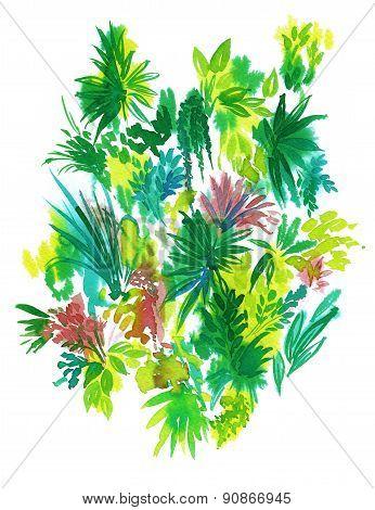 Artistic Watercolor Flowers. Tropical Elements.