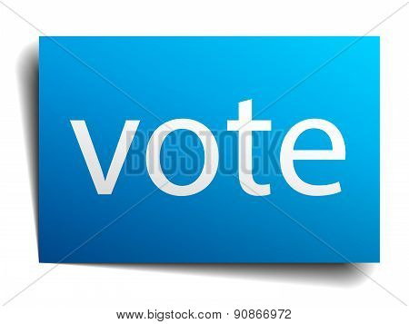 Vote Blue Paper Sign Isolated On White