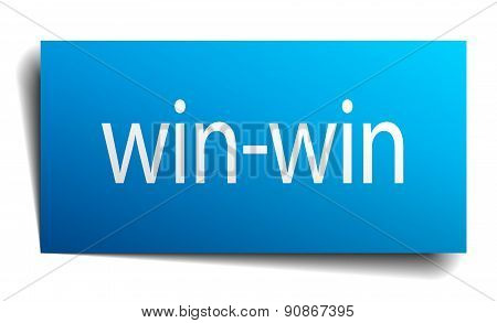 Win-win Blue Paper Sign Isolated On White