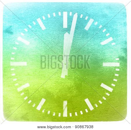 Classic Round Clock Isolated On Textured Background