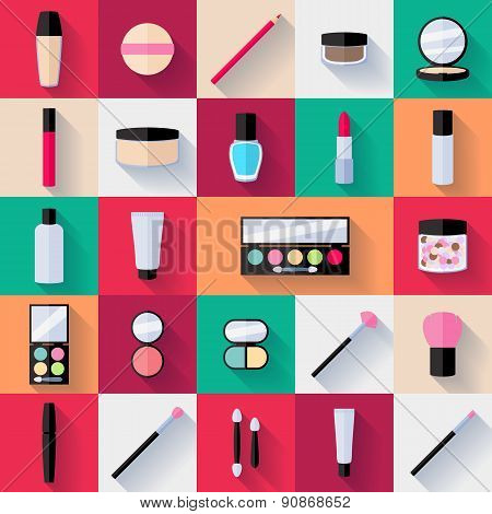 Make-up flat icons set.