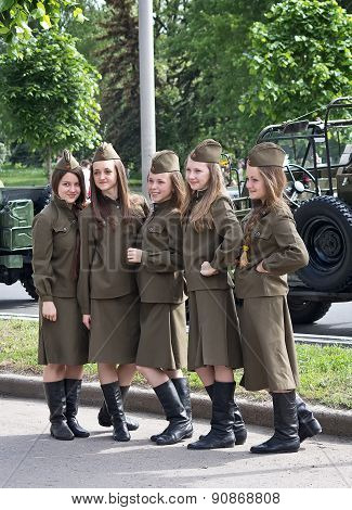 Makeevka, Ukraine - May, 9, 2012: Participants Of The Historical Parade In Honor Of The Anniversary