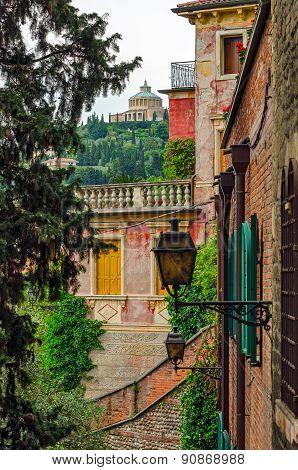Verona Italy Alley And Santuario Madonna Di Lourdes