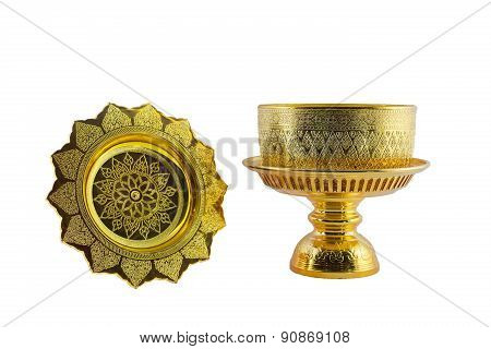 Tray With Pedestal Isolated On White Background.