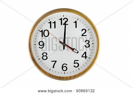 Clock Wood  Isolated On White Background.