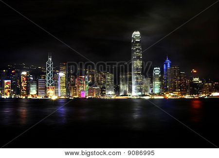 Bright And Colorful City Skyline At Night