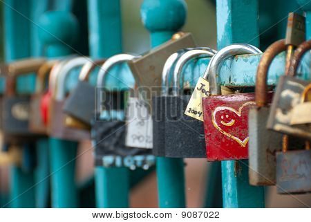 Padlocks Hanging On Tumski Bridge