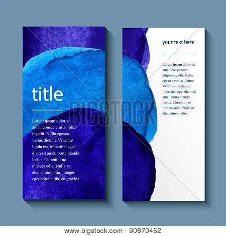 Watercolor painted background design, business corporate brochure template flyer layout.