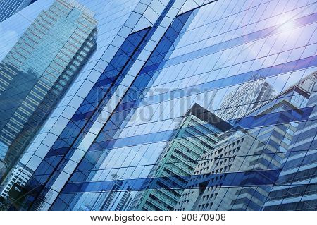 Reflect Of Modern City Building On Window Glass Tower, Bangkok Thailand
