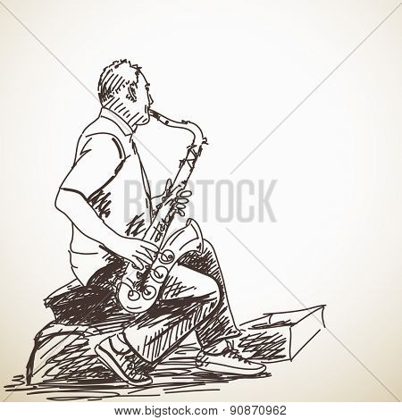 Sketch of Man Saxophone street musician Hand drawn illustration
