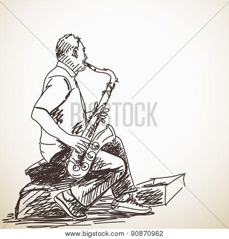Sketch of Man Saxophone street musician Hand drawn illustration