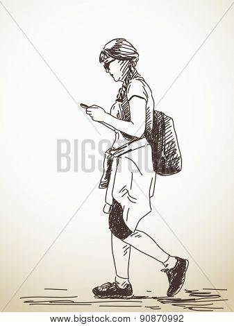 Sketch of walking woman with smart phone Hand drawn illustration