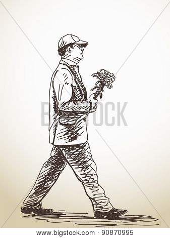 Sketch of walking Man with flowers Hand drawn illustration