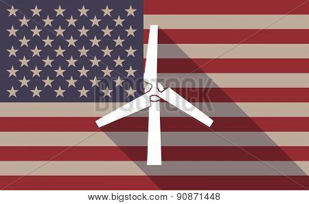 Usa Flag Icon With A Wind Generator